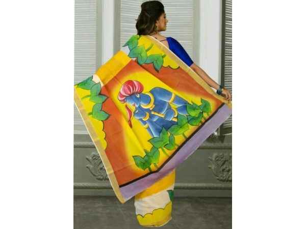 Kerala Cotton Hand Paint No Blouse Piece Design 02