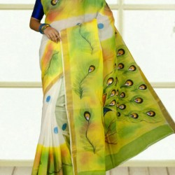 Kerala Cotton Hand Paint No Blouse Piece Design 05