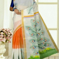 Kerala Cotton Hand Paint No Blouse Piece Design 11