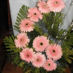 Carnation flower arrangement with one greetings card