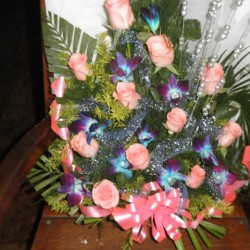 Pink Rose & Orkid Flower Arrangement with One greetings card