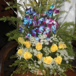 Yellow Rose & Orkid   Flower Arrangement with one greetings card design 2