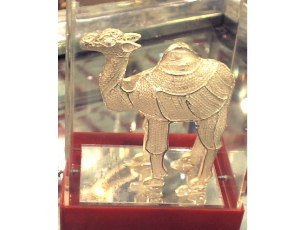 Camel(in a glass box), made of silver