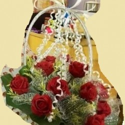 Rose Flower bouquet with white Ribon  plus one Greetings Card